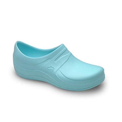 Feliz Caminar - Zapatos Sanitarios Nebula/con Correa Antideslizantes y Cómodos/Anatómicos/Cocina, Sanidad, Hostelería (Agua Marina 36)