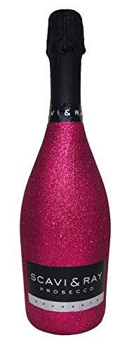 Scavi & Ray Prosecco Frizzante 75cl (10,5% Vol) - Bling Bling Glitzer Glitzerflasche Flaschenveredelung für besondere Anlässe - Hot Pink -[Enthält Sulfite]