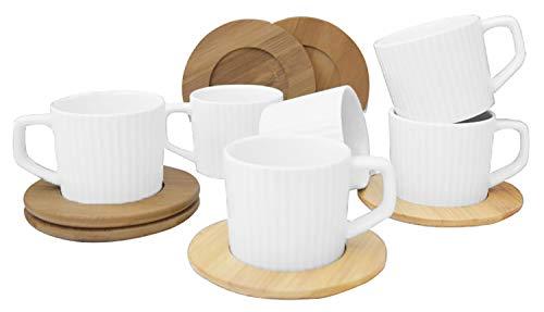 Hogar y Mas Juego de Café Natura Blanco Moderno, 6 Tazas con Platos de Bambú. Tazas de Café 6 Unidades, 100 ml