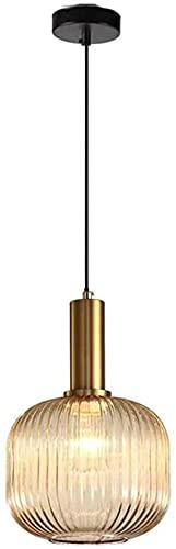 ÑIQUIÑA Luz colgante moderna, lámpara de cristal verde vintage lámpara de cobre, soporte de lámpara de oro E27 Dormitorio Lámpara de noche, A (Color : Si)