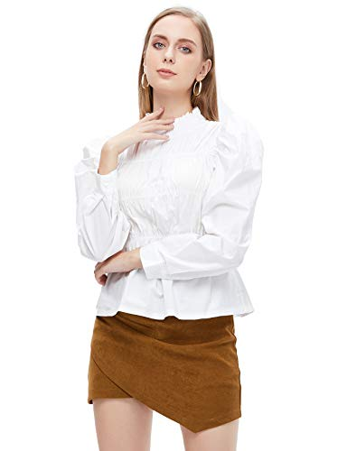 Generic M Retail Retro Style Women Elastic Puff Sleeve Shirt Turtle Neck Boho Top Fall Blouse (White), Large