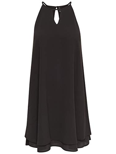 ONLY Damen Kleid ohne Ärmel Einfarbiges 38Black