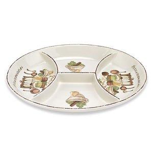 Lorren Home Trends Cucina Italiana Oval 4 Section Appetizer Platter, Beige