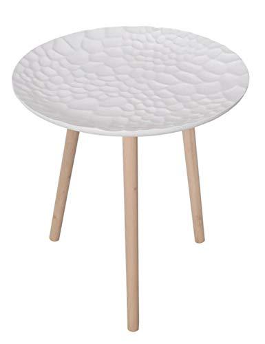 Plateau géométrique Petite Table/Table Basse Simple/Table d'appoint Design, Table Ronde en pin créatif, adapté pour Salon/Chambre/Balcon, Blanc Mat