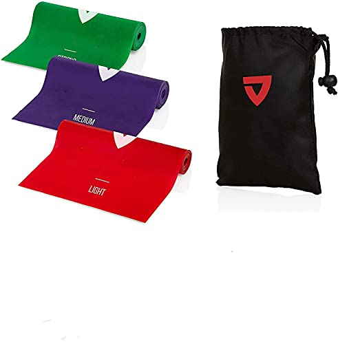 Resistance Bands [5er-Set] Fitnessbänder Theraband mit Übungsanweisungen in Deutsch & Tragetasche Naturlatex-Gymnastikband für Muskelaufbau, Yoga, Crossfit, Gymnastik usw.