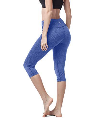 LAPASA Donna Capri Leggings 3/4 Allenamento Opaco Yoga Fitness Spandex Palestra Pantaloni L02 (L/44(Vita 76-86 cm), Nero super opaco)