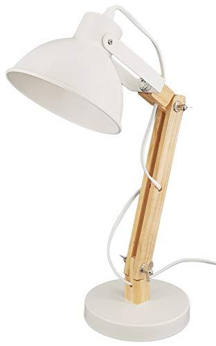 Schreibtischlampe - Holz Design - E14 Fassung - mit Standfuß - Retro Vintage Tischlampe mit verstellbarem Gelenkarm - Nachtischlampe Weiß (Weiß)