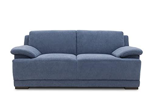 DOMO. collection Telos 2er Boxspringsofa, Sofa mit Boxspringfederung, Zeitlose Couch mit Breiten Armlehnen, blau