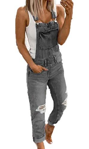 oneforus Damen Trend Jeans Camouflage Jumpsuit, Latzhose Latzhose Boyfriend Ripped Hole Denim Jumpsuit