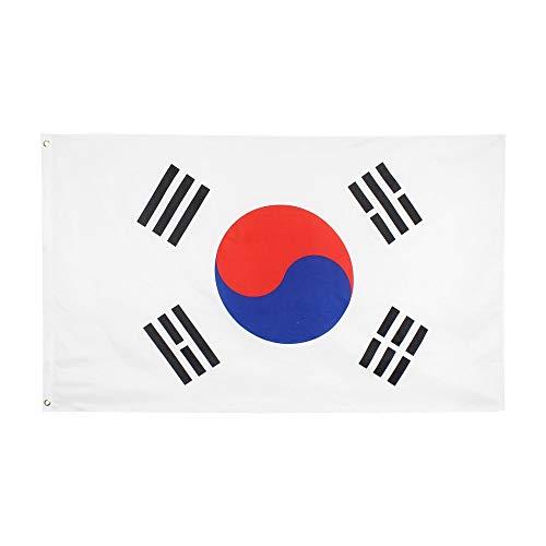 XiaoOu Bandera de jardín 3x5 pies 90 * 150 cm Bandera de Corea del Sur del Orgullo Coreano Bandera astas de Bandera para jardín, 60 x 90 cm