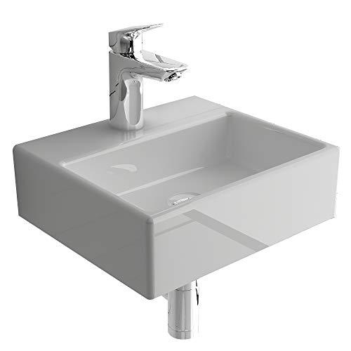 Alpenberger Handwaschbecken aus Sanitärkeramik mit Hahnloch 33cm I Lösung kleine Bäder/Gäste WC