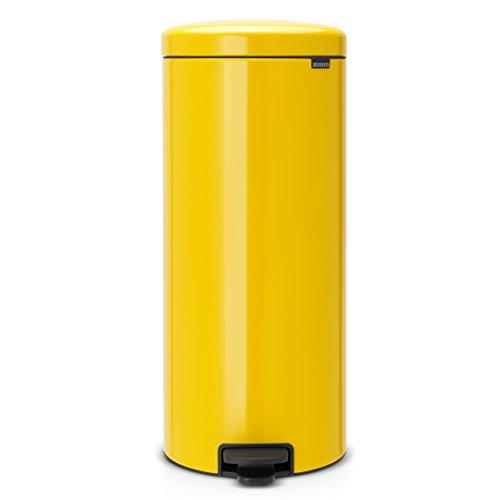 Brabantia Newicon-Cubo de Basura con Pedal, 30 l, Acero, Color Daisy Yellow, Inoxidable, Amarillo