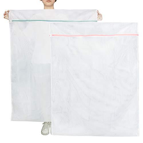 Extra große Netz-Wäschesäcke, 2 Stück, 110 x 89,9 cm, Feinnetz-Waschmaschinen-Tasche mit rostfreiem Metall-Reißverschluss für Spielzeug, Bettwäsche, Vorhang, Feinwäsche, Decke
