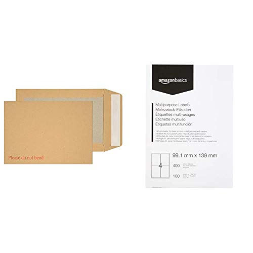 Blake Purely Packaging C5 229 x 162 mm Board Back Pocket Peel & Seal Envelopes (5112) Manilla - Pack of 125 & AmazonBasics Multipurpose Address Labels, 99.1mm x 139 mm, 100 Sheets, 400 Labels