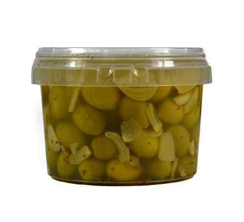 Hymor grüne Oliven mit Knoblauch - 10x 360g Behälter - Oliven aus Marokko Marokkanische Olive eingelegt in Lake vegan, glutenfrei, zu Tapas, Salaten, beim Kochen