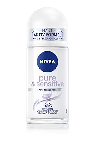 NIVEA Pure & Sensitive Deo Roll-On (50 ml), Deo mit 48h Anti-Transpirant Schutz für sensible Haut, pflegendes Deodorant ohne Brennen, Rötungen und Irritationen
