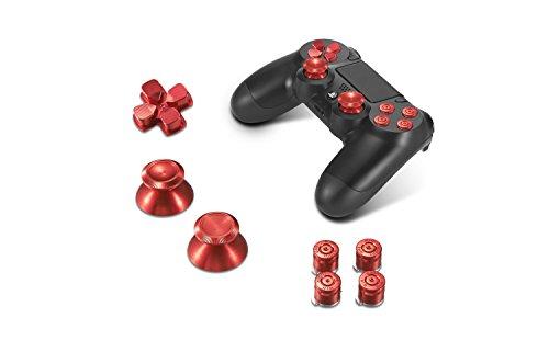 Supremery Alu Buttons für Playstation 4 Dualshock Controller Aluminium Buttons Kappen Thumbsticks Ersatzteile Zubehör für PS4 (Bullet Rot)