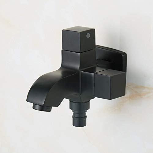U/D Separador de Doble Uso Doble de Agua a uno en Dos de ángulo de la válvula de la fregona Piscina Lavado Interruptor de la máquina de Doble Grifo (Color : Negro)