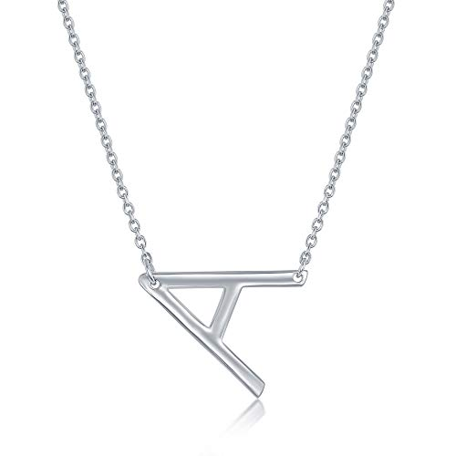 Sterling Silver Sideways Initial Necklace A Pendant Dainty Letter Necklace for Women