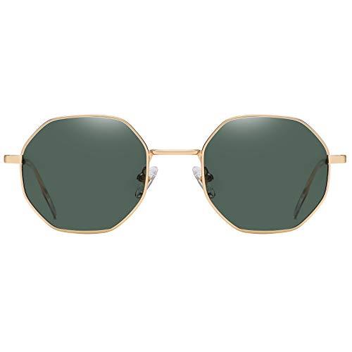 H HELMUT JUST Gafas de sol redondas para mujer,Gafas de sol retro,Gafas de sol redondas para hombres (Golden/Green)