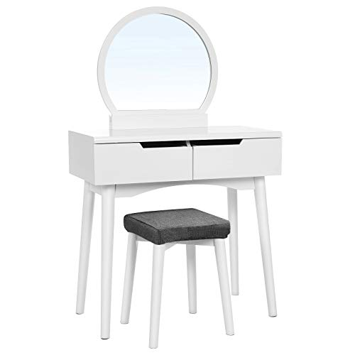 "VASAGLE Vanity Set with Round Mirror 2 Large Drawers with Sliding Rails Makeup Dressing Table with Cushioned Stool, White URDT11W, 31 1/2""L x 15 3/4""W x 51 3/8"" H"