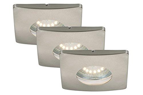 LED Einbauleuchten 3-er Set, Einbaustrahler, Einbauspots, LED GU10, 4 Watt, 330 Lumen, schwenkbar, IP44, Badezimmer / Bad geeignet, matt-nickel