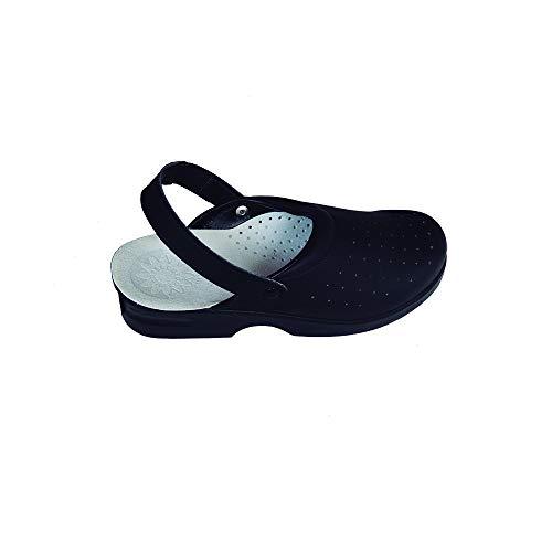 Zuecos Sanitarios de Trabajo L1st R968 • Zuecos Mujer y Hombre con Suela de Goma Antideslizante • Zapatos para Enfermería Y Hostelería • Talla 40 • Color Negro