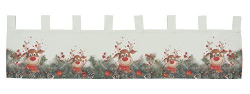 Scheibengardine Weihnachtsgardine Panneau Weihnachten Bistrogardine Gardine Elch rote Nase 100% Polyester Blickdicht (30 x 120 cm)