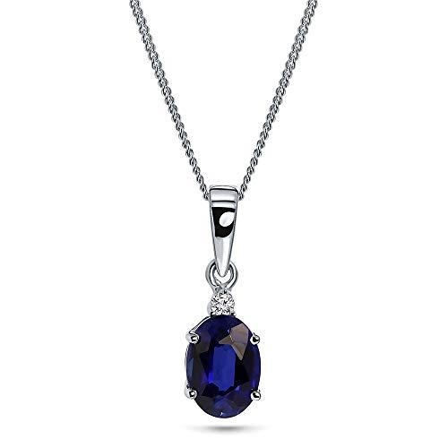 Miore Kette Damen 0.02 Ct Diamant Halskette mit ovalem Anhänger Edelstein/Geburtsstein Saphir in blau Kette aus Weißgold 9 Karat / 375 Gold, Halsschmuck mit Diamanten Brillanten 45 cm lang