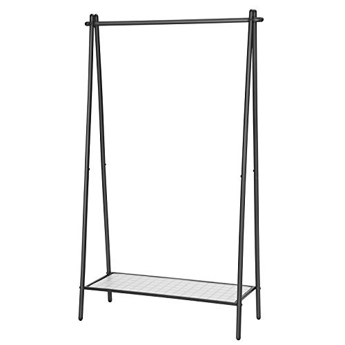 SONGMICS Clothes Garment Rack with Iron Structure Clothing Rack with Hanging Rail Bottom Shelf Simple Look for Bedroom Entrance Attic Basement 364 x 132 x 602 Inches Matte Black UHSR23BK