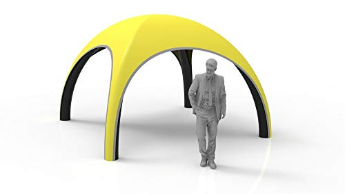 Main-Zelt Tienda de campaña Hinchable Dome, 3 m, con Patas Negras, Color Amarillo