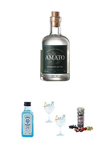 Amato Gin Deutschland 0,5 Liter + Bombay Sapphire Gin 5 cl Miniatur + Gin Sul Copo Ballon Glas 2 Stück + Gin Flight Gewürze zum Verfeinern von Gin Tonic 1er Pack 1 x 12 Gramm