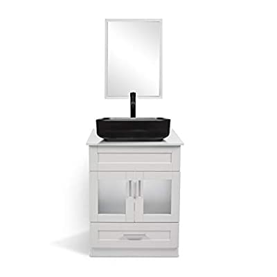YOURLITE 24 Inches White Bathroom Vanity and Sink Combo - with Mirror and Water Saving 1.5 GPM ORB Faucet Counter Top Floor Cabinet (Vanity+1008# Sink)