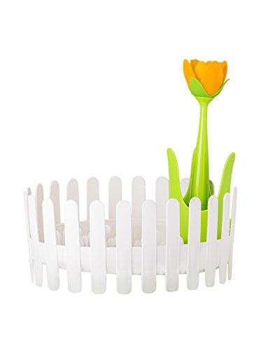 Vigar Flower Power Escurrevajilla y Cubiertos, Material: Polipropileno, ABS y Silicona, Blanco y Verde, Dimensiones: 36 x 28.5 x 36 cm