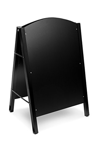 Alpine Industries Steel Double Sided Standing Menu Board - Chalkboard Sign - Sandwich Memo Board - Chalk Included (Black)