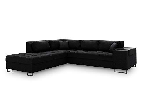 Sofá de esquina izquierda convertible con baúl de almacenamiento, Madison, 5 plazas, color negro, 278 x 220 x 74