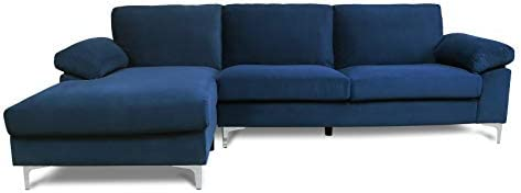 Best Blue Sectional Sofa with Lounger Chaise,JULYFOX Overstuffed Left Hand 3 Seater Fabric Couch L-Shaped