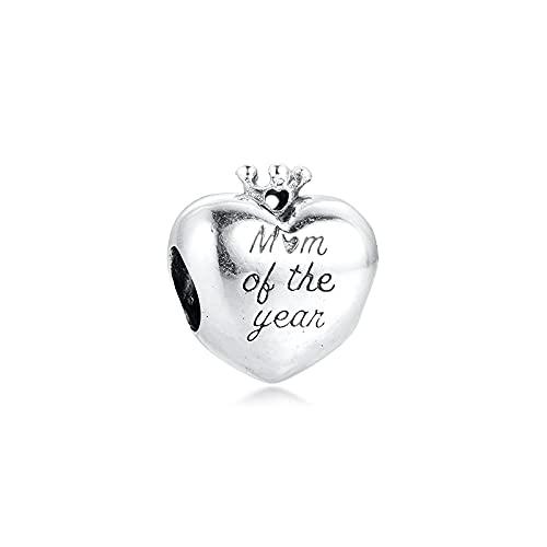 WUXEGHK Abalorio De Corazón De Mamá del Año para Plata 925, Dijes Originales, Pulseras, Joyería DIY, Cuentas De Plata para El Día De San Valentín para Hacer Joyas