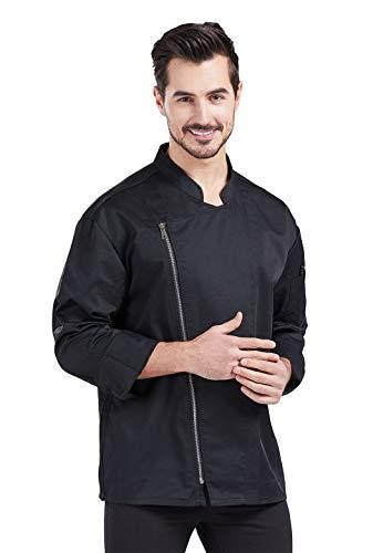 Nanxson Unisex Chef Coat Men's Long Sleeve Chef Jacket Restaurant Kitchen Cooking Zipper Chef Uniform CFM0058 (Black, L)