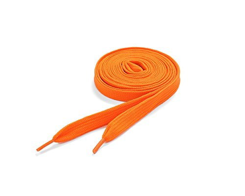 Schnürsenkel 60 x Orange Farbe Ebene Schnürsenkel 11mm x 120cm (Flat Shoelaces)