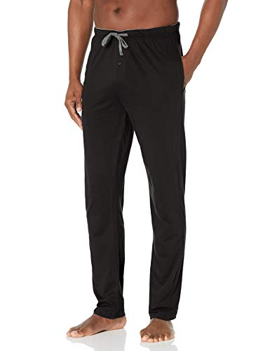 Hanes Men's Solid Knit Sleep Pant, Black, Small