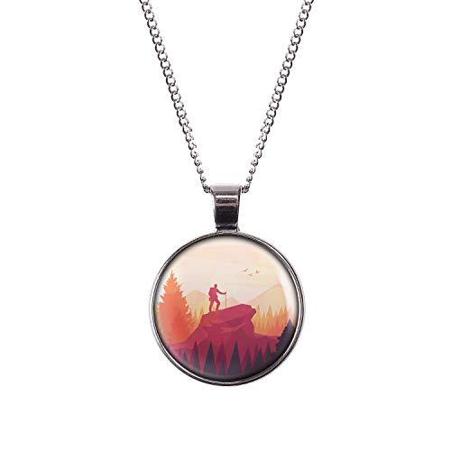 Mylery Hals-Kette mit Motiv Wanderer Berg-Gipfel Landschaft Silber 28mm