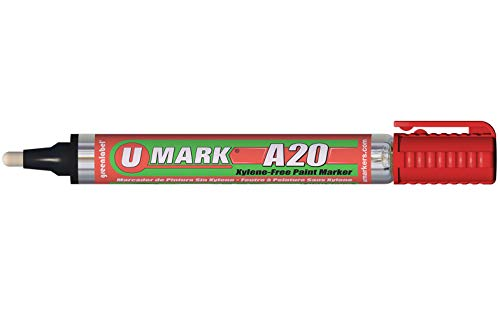 U-Mark A20 Xylene-Free Paint Marker With Reversible Tip Red (Pack of 12) 10704