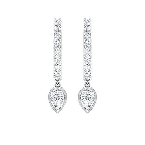 Orecchini a cerchio piccoli con diamanti certificati IGI, IJ-SI, a forma di pera, impilabili, per matrimonio, damigella d'onore, 14K Oro bianco, Paio