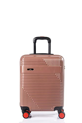 North CASE ABS 8 Wheels CCS Suitcase Luggage Trolley HARDCASE Lightweight Cabin Bag Burgundy-Black S (M, Pudra - Black)