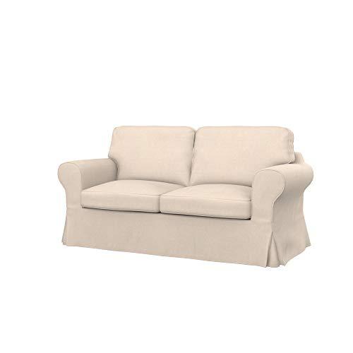 Soferia Fodera di Ricambio per Ikea EKTORP Divano a 2 posti, Tela Softi Beige, Beige