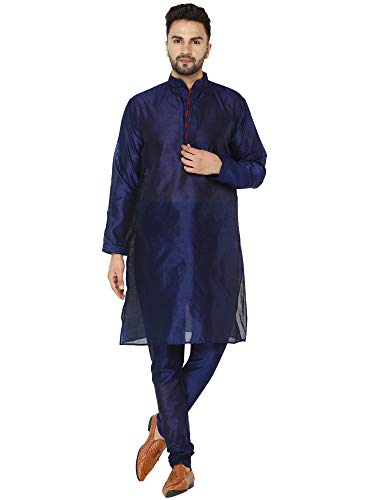 SKAVIJ Kurta Pijama - Vestido de Fiesta Étnico Indio - Traje de Hombre Azul_XL