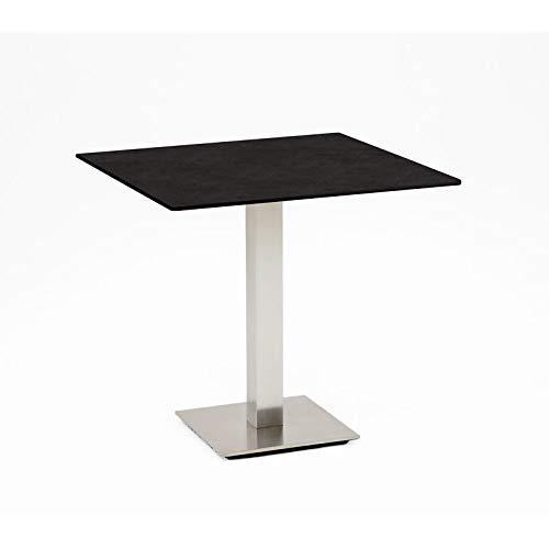 Niehoff Tisch Bistro, HPL-Tischplatte, Edelstahl, 95 x 95 cm