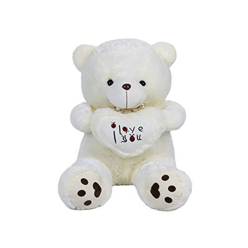 VERCART Teddybär Groß, Weiß Plüsch Kuschelbär, Kuscheltier, Knuddeliger Teddy Bär, Plüschbär Mit Herz Liebe, 50CM