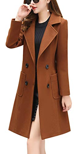 chouyatou Women Elegant Notched Collar Double Breasted Wool Blend Over Coat (X-Large, Brown)